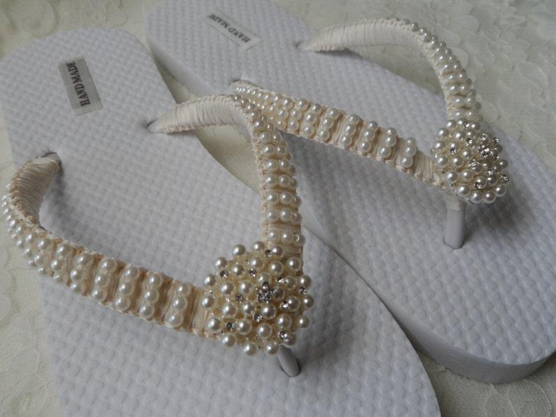 b1f88fcd43907 Ivory Pearls Flip Flops   Wedding Sandals Pearls Rhineston