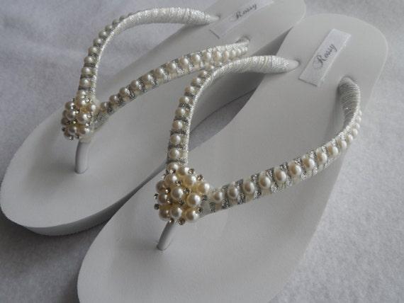 Flops Flip Flops Bridesmaids Flip Rhinestones Bridal Sandals Wedding Pearls Wedge Flops Flip Flops Flip Pearls Bridal q1gWwx6E