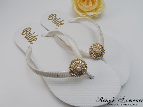 fa2aec4de76b39 Gold   Ivory Party Flip Flops  Bridal Shower Beach Wedding
