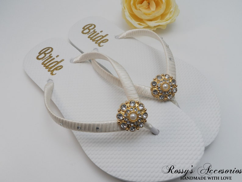 4c4431a31 Gold   Ivory Party Flip Flops  Bridal Shower Beach Wedding