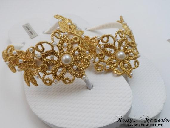 a1848212ed36b9 Gold Venice Lace Flip Flops   Bridal White Flip flops   Bridal