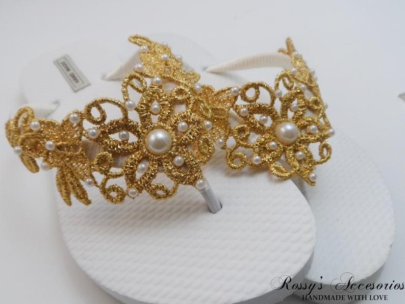 c7bb22f1e Gold Venice Lace Flip Flops   Bridal White Flip flops   Bridal