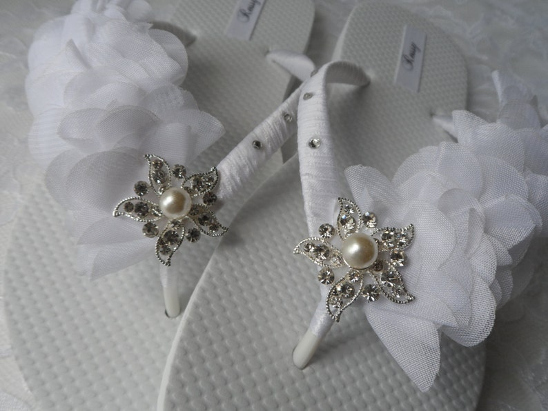 3b9b5414da81e WHITE Bridal Flip Flops   Beach Wedding Flip Flops