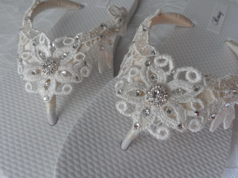 0246feb87 Ivory Venice Lace Flip Flops   Bridal White Flip flops