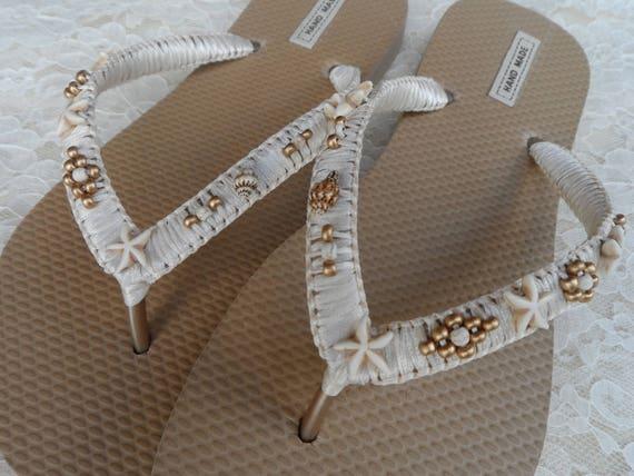Sandals Summer Flops Flip Shell Beach Gold Bridal Flops Flops Bohemian Flip Shell Style Flops Flip Starfish Beach and Flip wedding qtHwxO