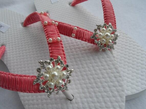 Bridal Coral Flip Flops  Wedding Rhinestone Flip Flops -9809