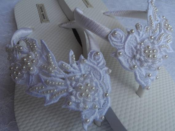 Sandals Bridal Venice Flip Flops Shoes Lace Lace Venice Flip Bridesmaids flops White Bridal Flops Flip Wedding White P8AxUnqq1
