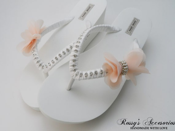 6389625d7e829 Bridal Wedge White Flip Flops / Salmon Chiffon Bow Rhinestone Flip Flops /  bridesmaids Shoes / bride Gift / Beach Wedding Party .