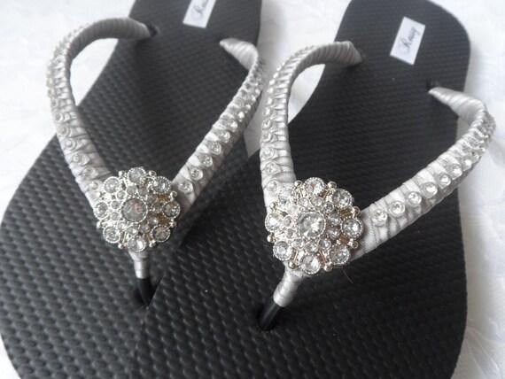 Bridesmaids Flip Flops Flops Flip Beach Flip Flops Colors Wedding Grey Flops Bridal Flip Rhinestones OwqxxB