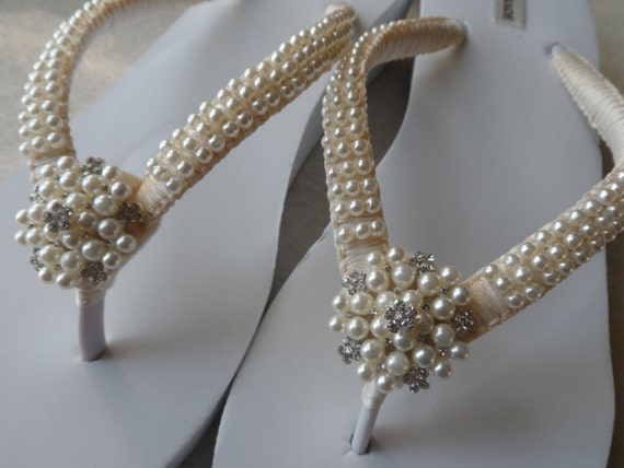 Bridal Wedding Sandals Sandals Pearls Pearls Flip Wedge Flops Flops Flip Ivory Bridesmaids Rhineston Shoes gwHI7