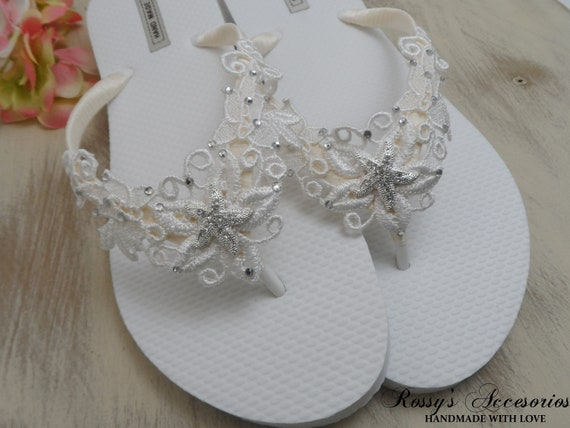 9205d80a41b2f0 ... Party Flops Beach Ivory Lace Wedding Gift Flip Beach Flops Flip Wedding  Bridesmaids Gift Flops Bride ...