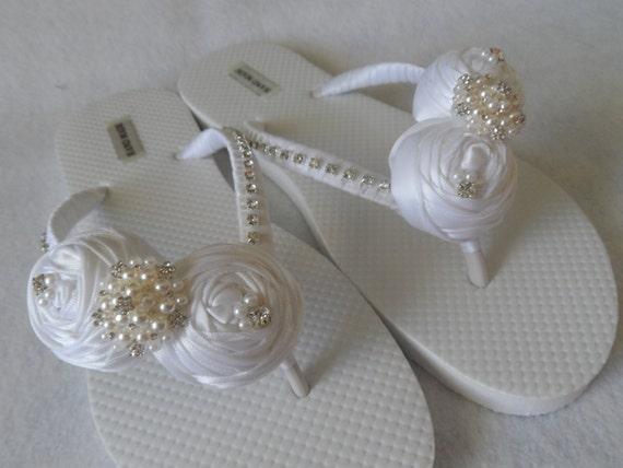 Wedding Bridal Flip Bridal Flowers Flops Shoes White Shoes Bridal Bridesmaids Flops Flip Satin Rolled Sandals Ivory tPcwzq5xAz
