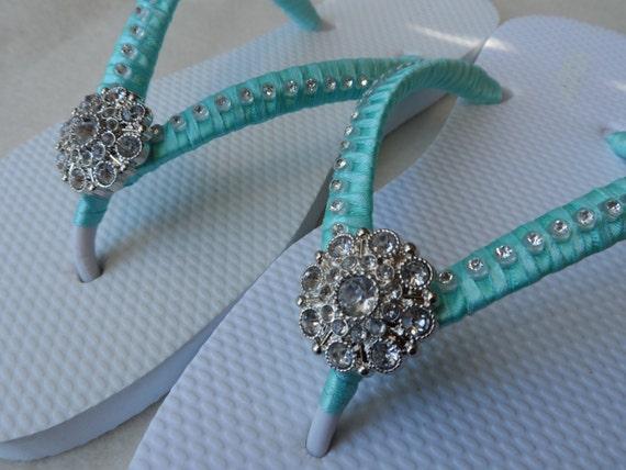 Bridesmaids Flip Bridal Flip Wedding Blue Colors Flops Flops Aqua Rhinestones Flops Flip Flip Flops Beach qR64w6EC