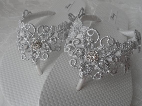 7633064bd Silver Venice Lace Flip Flops   Bridal White Flip flops