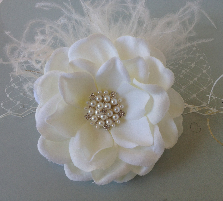 Ivory Flower Hair Clip Wedding: Bridal Hair Flower / Ivory Bridal Hair Clip / Wedding Hair
