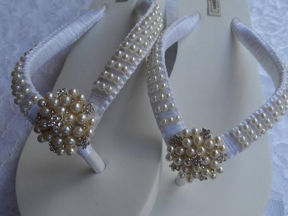 Tongs demoiselles strass mariage tongs de sandales Blanc chaussures perles perles d coin de ES4qSaFU