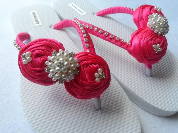 Flip Rolled Rhinestone Fuchsia Sandals Color Bridal Pearls Flip Flops Flops Flops Flip Bridesmaid Bridal Shoes Flowers Tw1xaEHxq