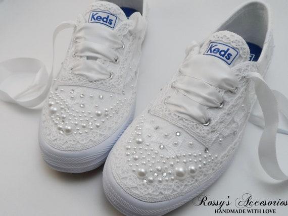 Wedding Sneakers for Bride/Pearls