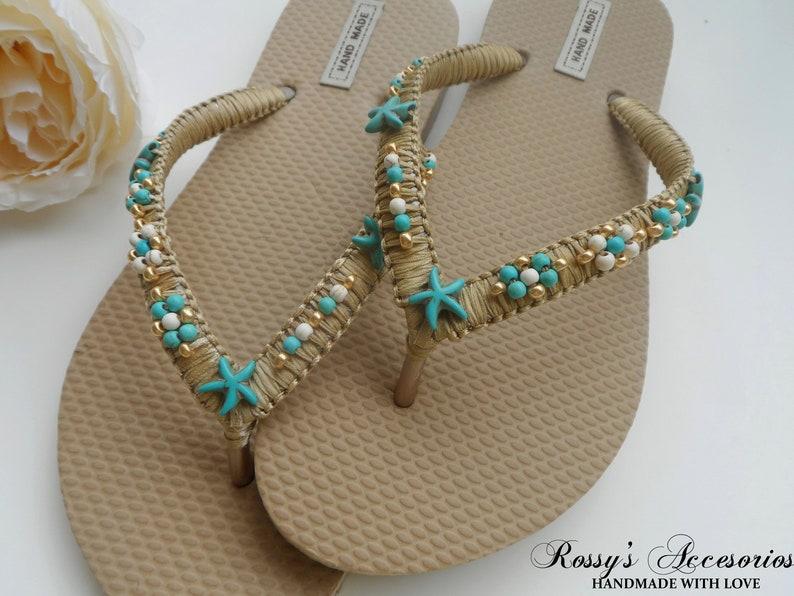 729d1c9168d077 Turquoise Starfish Bridal Flip Flops   Beach Wedding Flip