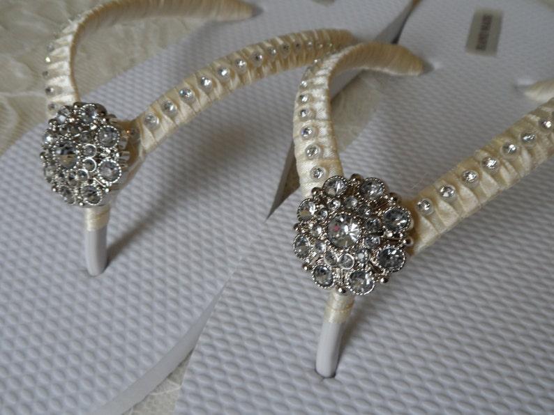 Ivory Flip Flops  Bridal Party Flip Flops  Bridesmaids Flip Flops  Flower Girls..