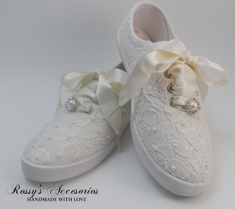 39ca1beeaf0a Wedding Sneakers for Bride  Ivory Pearls Tennis Shoes   Ivory