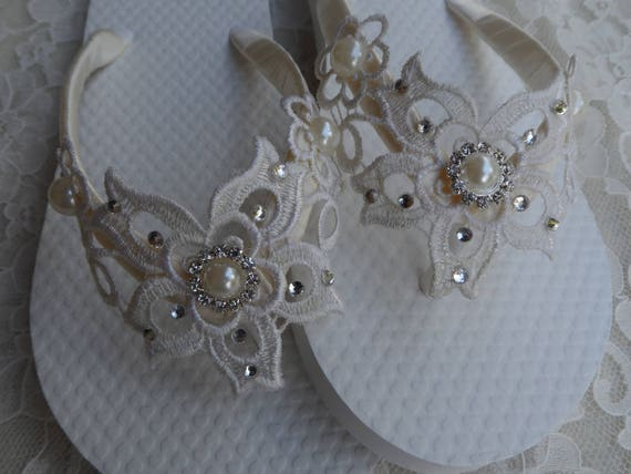 9d3ef221f550cb Wedding Flip Flops Flower Girls   Ivory Venice Lace   Bridal