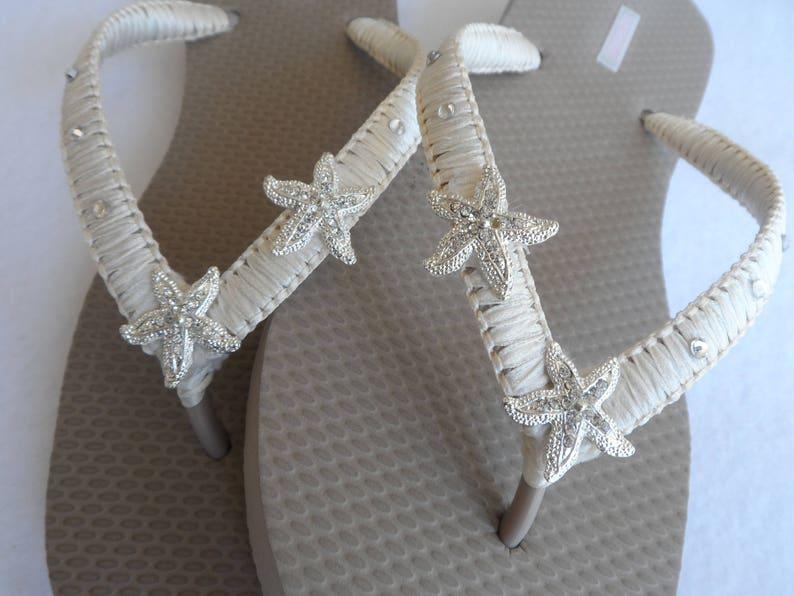 e4be8ff6cb9d Starfish Bridal Sand Color Flip Flops   Beach Wedding Flip