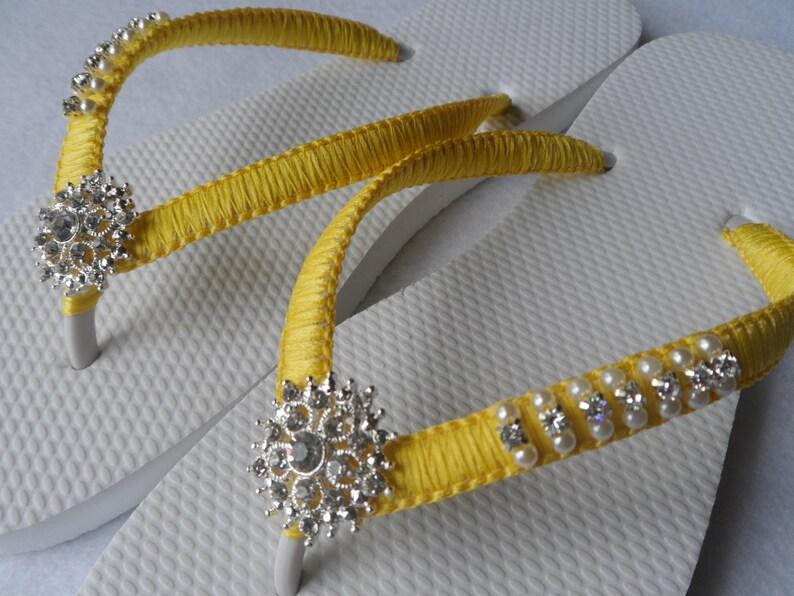 f645884574aae Bright Colors Wedding Flip Flops   Bridal Pearls Sandals
