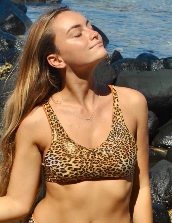 dc29e4a294 Gold leopard print reversible Sports Bra Bikini Top Reverse to