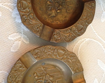 2 Antique Handcrafted Middle Eastern Ornate Solid Brass Ashtrays