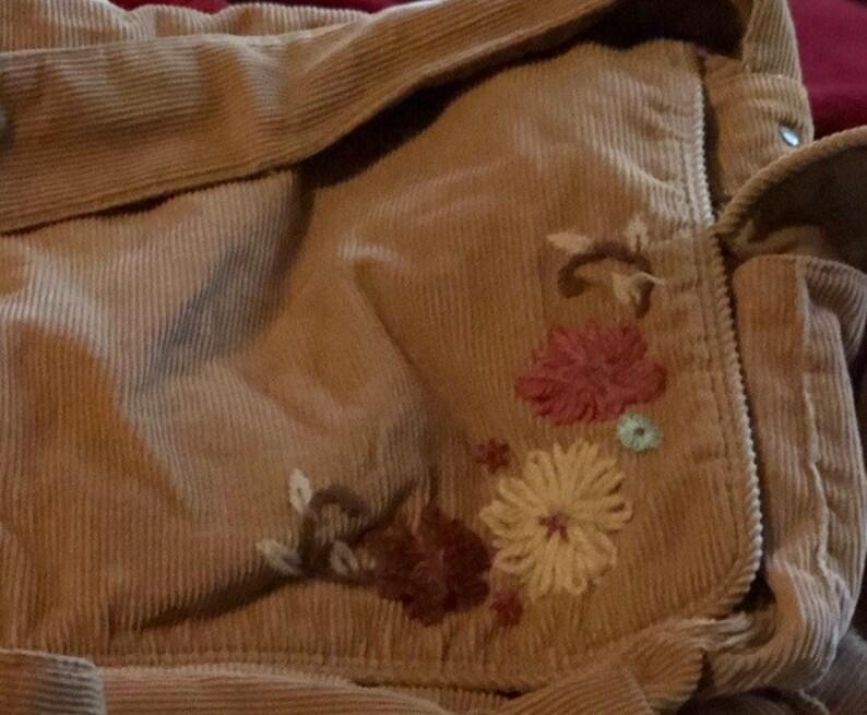 Light Brown Boho Hand Embellished Cordoroy Sholder Messenger Bag