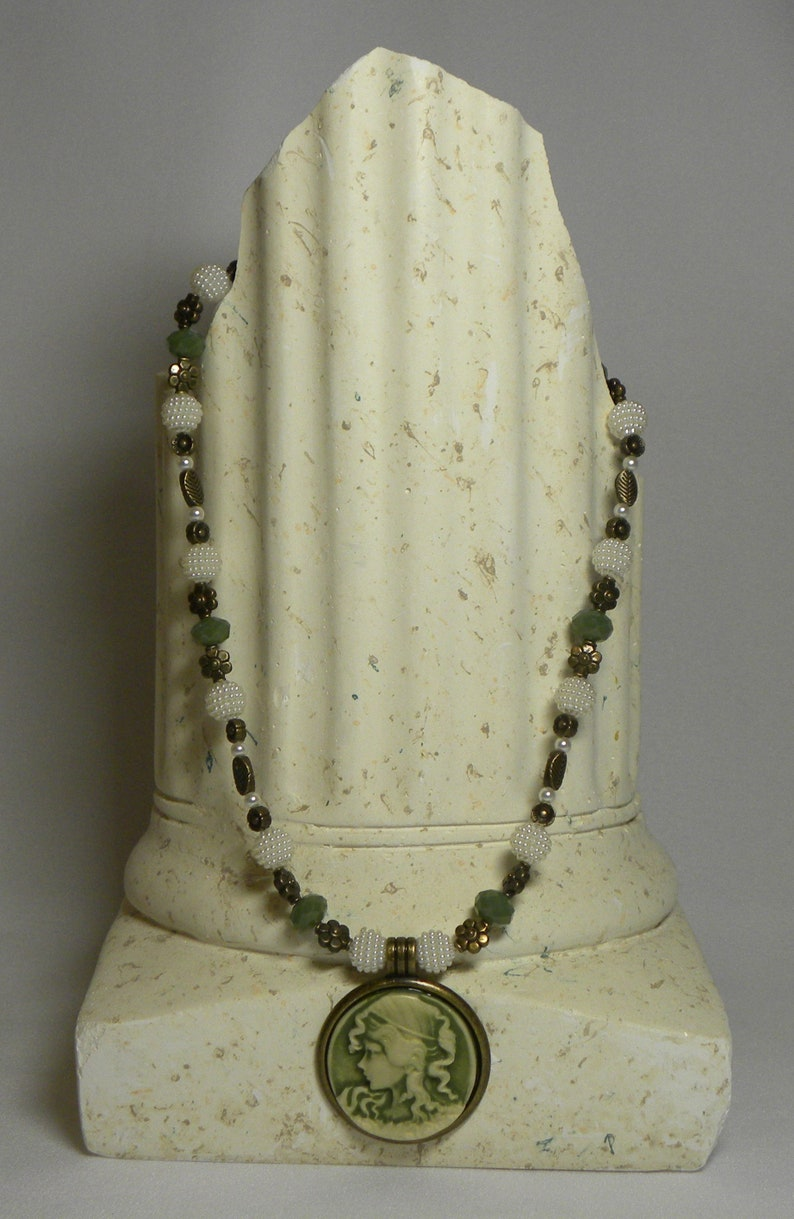 Necklace Antiqued Gold 18 inch Olive Green and Cream Cameo Pendant Necklace with Sage Green and Pearly Cream Beads