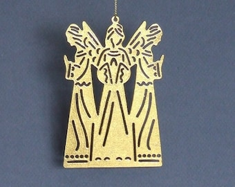 Christmas Angels Ornament: Here Is A Rustic Gilded Metal Christmas Ornament With Three Angels For Your Christmas Tree