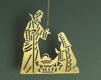 Nativity Christmas Ornament: Here Is A Rustic Gilded Metal Christmas Ornament With Joseph, Mary, And Baby Jesus For Your Christmas Tree