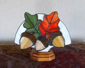 Fall Oak Leaves and Acorns Stained Glass Lamp