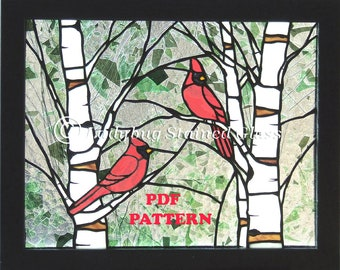 """PDF PATTERN for Stained Glass Panel """"Cardinals in the Spring""""  Full-Sized Pattern 14"""" x 11"""""""