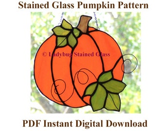 """Stained Glass Pumpkin PATTERN - Instant Download Pattern for Autumn Pumpkin - Makes Stained Glass Pumpkin 6"""" High Suncatcher - Pattern Only"""