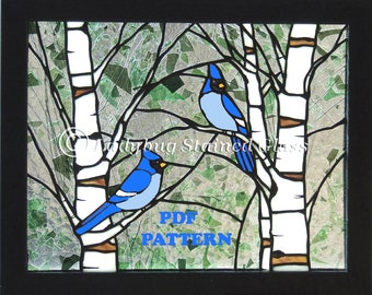 Stained Glass PATTERN for Bluejays Bluebirds in the Spring Stained Glass Panel (Pattern Only) PDF Instant Download