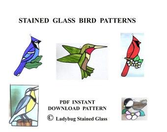 Stained Glass Bird PATTERNS - Patterns to Make 5 Bird Suncatchers - Blue Jay, Cardinal, Meadowlark, Hummingbird, Chickadee