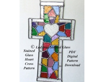 Stained Glass PATTERN for Cross - PDF PATTERN For Stained Glass Cross With Heart *(Pattern Only)*