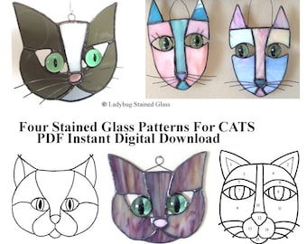 CATS PATTERN For Stained Glass Suncatchers - Four Different Patterns - PDF Instant Digital Download - Easy Patterns For Stained Glass Users