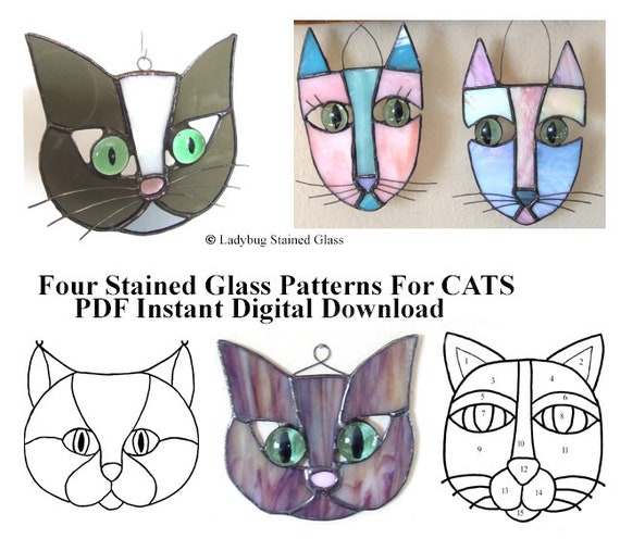 Cats Pattern For Stained Glass Suncatchers Four Different Patterns Pdf Instant Digital Download Easy Patterns For Stained Glass Users