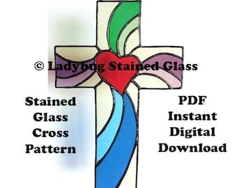 """Stained Glass PATTERN for Cross - Swirl Heart Cross Pattern To Make A 10"""" Stained Glass Cross - PDF Instant Digital Pattern Download"""