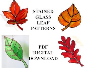 Stained Glass Leaf PATTERNS - Celebrate Autumn With These Four Leaf PATTERNS For Stained Glass: maple, oak, aspen or Cottonwood, Ash