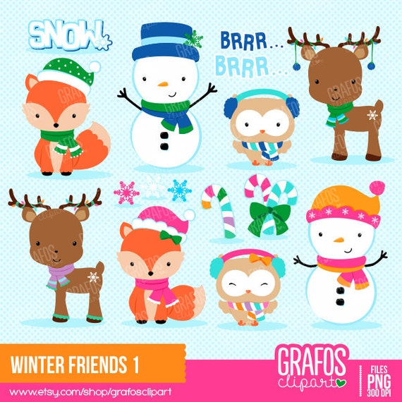 WINTER Freunde 1 digitale Clipart festgelegt Merry | Etsy