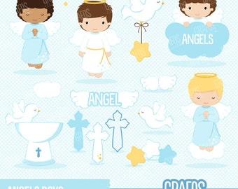 ANGELS BOYS - Digital Clipart Set, Angels Clipart, Baptism Clipart, Cross Clipart.