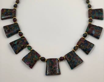 Fancy Jasper and Gold Plated Necklace