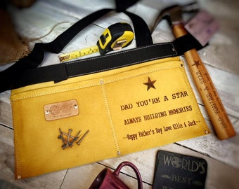Personalised Leather Tool & Nail Belt - Etched With Any Message - The Perfect Fathers Day Gift