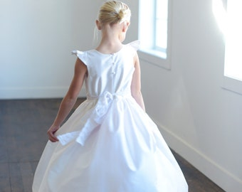 ee8b4d1bf69 First Communion Dress or Flower Girl Dress in white pure silk and available  in 140 different silk colours