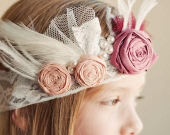 The Gatsby Glamour wedding headband  ..1920s Vintage Wedding .. Vintage Headband for Bridesmaids .. Flower girl Headband